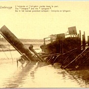 Sunken Ship in Zeebrugge. Old postcard.