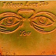 """SOLD 1906: Original Leather postcard: """" I would like to @@ you"""" - Red Tag Sale Item"""