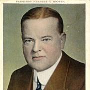 President Herbert C. Hoover. Postcard sent to Austria