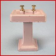 "Tootsie Toy Dollhouse Pedestal Sink - Lavender 1920s 1/2"" Scale"