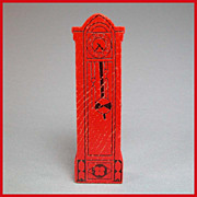"""Strombecker Dollhouse Grandfather Clock – Red 1934 3/4"""" Scale"""