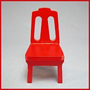"Strombecker Dollhouse Kitchen Chair - Red 1953 1"" Scale"