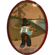 REDUCED Smoking Dutch Boy with Windmills German Dollhouse Lithographed Picture in Oval Frame 1