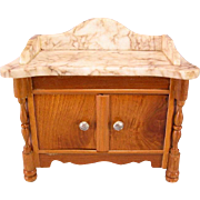 """REDUCED Antique German Dollhouse Schneegas Marble Top Washstand Late Victorian Large 1"""" S"""