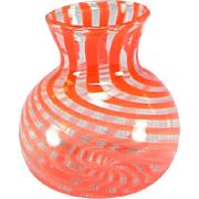 "REDUCED Antique Dollhouse Red Swirl Venetian Glass Vase Early 1900s 1"" Scale"