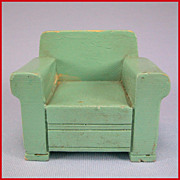 "SALE Strombecker Dollhouse Wide Arm Club Chair – Aqua Early 1950s 3/4"" Scale"