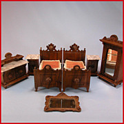 "REDUCED 7 Pc. Antique German Dollhouse Luxury Bedroom Suite Mid Victorian Large 1"" Scale"
