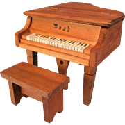 """REDUCED Dollhouse Miniature 'Wood' Piano with Bench 1920s - 1930s 1"""" Scale"""