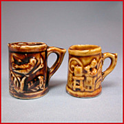 REDUCED Two Miniature Bennington or Rockingham Brown Glazed Porcelain Mugs Late Victorian Larg