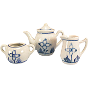 REDUCED 4 Pc. Antique German Blue Onion Tea Pot, Sugar & Creamer Early 1900s Doll Size