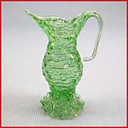 "REDUCED Vintage Dollhouse Miniature Green Spun Glass Pitcher Large 1"" Scale"