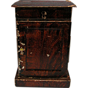 Antique Rock and Graner German Dollhouse Tin Nightstand with Faux Wood Graining 1860s – 1880