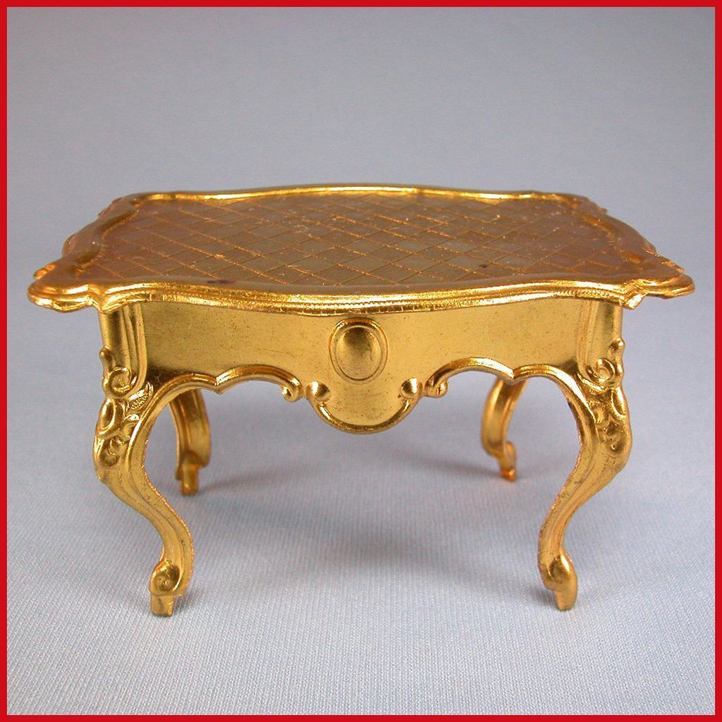 Antique German Dollhouse Ormolu Table With Serpentine Top