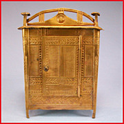 Rare Neo Classical Antique German Dollhouse Ormolu Wardrobe by Erhard and Son Late 1800s Small