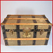 REDUCED Antique Green Canvas Covered Wood Doll Trunk with Original Tray