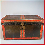 REDUCED Antique Black Tin & Wood Doll Trunk with Original Tray