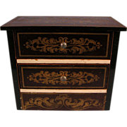 "Antique German Dollhouse Biedermeier Boulle Chest of Drawers 1880s – 1890s 1"" Scale"