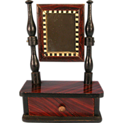 Antique German Dollhouse Kestner Faux Grained Shaving Stand with Swivel Mirror 1850s Doll Size