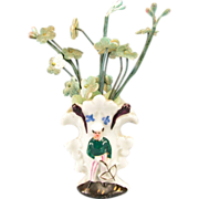 """French Porcelain Cottage Figural Vase with Flowers 1880s – 1890s Large 1"""" Scale"""