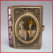 REDUCED King George V Silver Jubilee Miniature Souvenir Photo Album in Ornate Metal & Glas