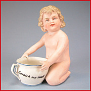 "REDUCED 4 3/4"" Kneeling All Bisque Character Bathing Doll Piano Baby with 'Scratch My Bac"