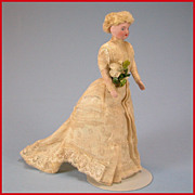 "7"" Antique Bisque Shoulderhead Bride Dollhouse Doll with Original Dress & Bouquet Ear"