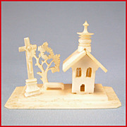 REDUCED Hand Carved & Fret-Cut German Bone Church Scene from the Rothenburg Toy Museum 186