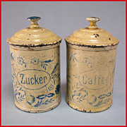 Set of 2 Antique German Miniature Round Sugar & Coffee Canisters for the Doll Kitchen Earl