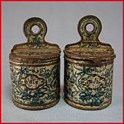 Set of 2 Antique German Miniature Bing Salt & Flour Wall Canisters for the Doll Kitchen Ea