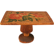 """Antique Dollhouse Wood Pedestal Table with Rose Stenciling Early 1900s 3/4"""" Scale"""