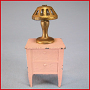 "Tootsie Toy Dollhouse Pink Enamel Metal Nightstand & Gilt Lamp 1920s 1/2"" Scale"