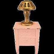 "Tootsie Toy Dollhouse Pink Enamel Metal Nightstand & Gilt Lamp 1920s 1/2"" Scale"