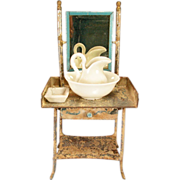 REDUCED Antique German Dollhouse Mirrored Tin Washstand with Porcelain Pitcher &Bowl, and