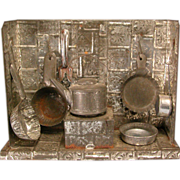 """REDUCED Antique German Toy Miniature Tin Kitchen with Utensils Late 1800s 1/2"""" Scale"""
