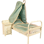 REDUCED Antique German Dollhouse Enameled Tin Canopy Bed with Nightstand Early 1900s Large 1""