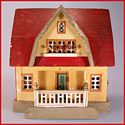 "REDUCED Antique Gottschalk Red Roof Dollhouse with Three Rooms 1914 – 1915 3/4"" Scale"