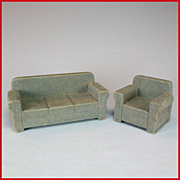 Strombecker Dollhouse Wide Arm Sofa & Club Chair Set – Blue Flocked Early 1950s 3/4""