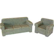Strombecker Dollhouse Wide Arm Sofa & Club Chair Set – Blue Flocked Early 1950s 3 ...