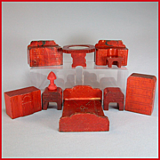 "REDUCED 10 Pieces of Nancy Forbes Wooden Dollhouse Furniture 1945 3/4"" Scale"