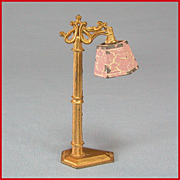 "REDUCED Tootsie Toy Dollhouse Floor Lamp – Gold with Pink Flocked Shade 1930s 1/2"" Scal"