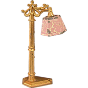 REDUCED Tootsie Toy Dollhouse Floor Lamp – Gold with Pink Flocked Shade 1930s 1/2 ...
