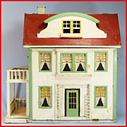 "REDUCED Antique Gottschalk Red Roof Garden Dollhouse with 5 Rooms 1927 Small 1"" Scale"
