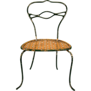 Antique German Dollhouse Rock and Graner  Bent Wire Side Chair with Faux Cane Seat  1860s ...