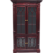 """Dollhouse Miniature Gothic Revival Display Cabinet by Bespaq Late 1980s 1"""" Scale"""