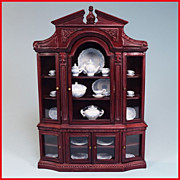 "REDUCED Dollhouse China Cabinet by Bespaq Early 1990s 1"" Scale"