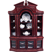 """REDUCED Dollhouse China Cabinet by Bespaq Early 1990s 1"""" Scale"""