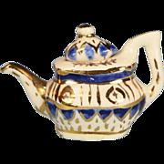 "Hand Painted Dollhouse Miniature Porcelain Tea Pot by Janice Crawley Blue & Gold 1"" Scale"