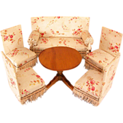 "Schneegas 5 Pc. Upholstered Parlor Set with Round Table Large 1"" Scale 1870s – 1890s"