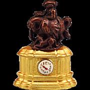 REDUCED Antique German Dollhouse Erhard & Son Ormolu Figural Mantel Clock with Bronze Lady