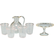 REDUCED Dollhouse Miniature Hand Blown Clear Glass Pitcher and 4 Tumblers and Footed Dish 1 ..